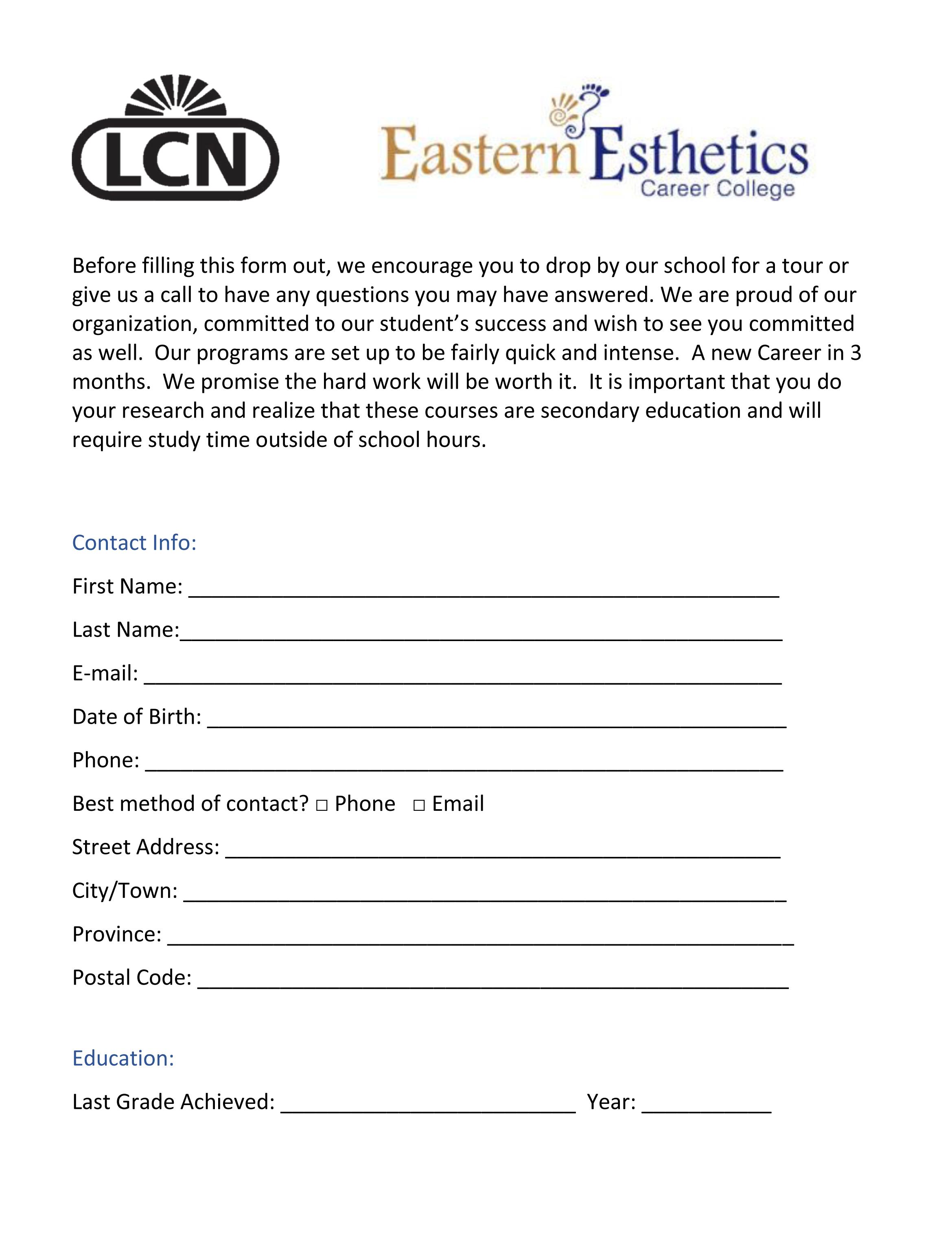 LCN Canada East - Nail Tech Program